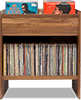 Unison Vinyl Storage Cabinet with flip-style LP storage bins room and room for 330 LPs. Crafted from premium North American hardwoods and focused on premium vinyl storage.